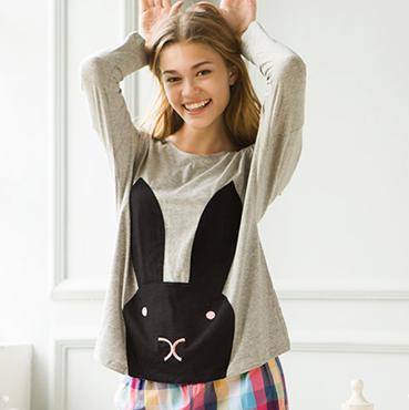 秋季可爱兔套头长袖长裤少女居家套装